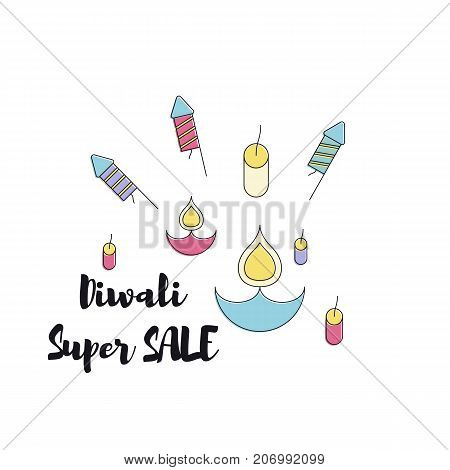 Creative poster, banner or flyer design of Diwali Sale for Indian Festival of Lights, Happy Diwali.