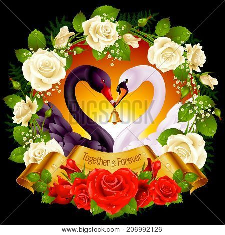 Vector Wreath of Roses Couple Swans Ribbon and Sunset Background. Black Cob and White Pen hold a Golden Bell. Birds Neck and Flowers in Heart Shape. Valentines Day Card or Wedding Invitation