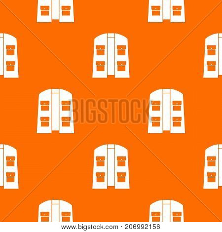 Hunter vest pattern repeat seamless in orange color for any design. Vector geometric illustration
