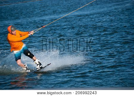 Wakeboarder With Focused Face