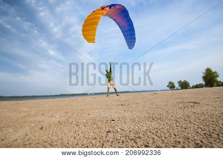 Man Is Training With A Kite, Paraglider