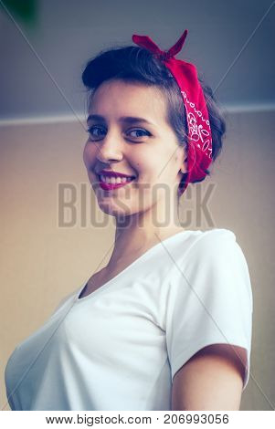 Portrait Of Joyful Pin-up Girl