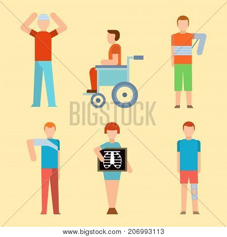 Trauma accident fracture human body safety vector disabled people silhouette cartoon flat style illustration isolated. Bandage healthcare diagnosis emergency human patient character.