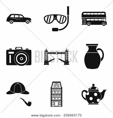 English atmosphere icons set. Simple set of 9 english atmosphere vector icons for web isolated on white background