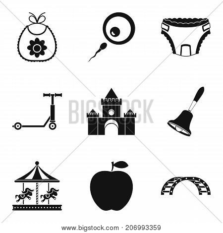 Parenting the baby icons set. Simple set of 9 parenting the baby vector icons for web isolated on white background