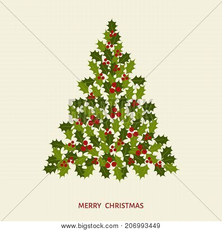 Abstract Christmas Tree With Leaves And Holly Berries.
