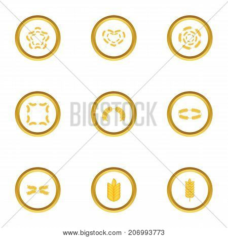 Ears form icons set. Cartoon style set of 9 ears form vector icons for web design