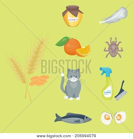 Allergy symbols disease healthcare food viruses and health flat illness allergen symptoms disease information vector illustration. Human flower treatment cough not healthy sign.