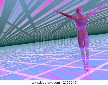 Woman  In A Hi Tech Cyber World