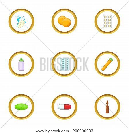 Medication icons set. Cartoon style set of 9 medication vector icons for web design