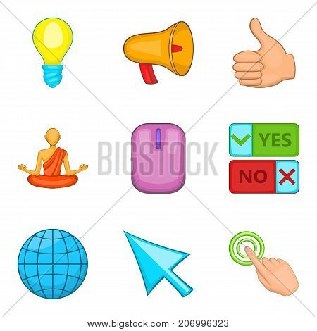 Online survey icons set. Cartoon set of 9 online survey vector icons for web isolated on white background