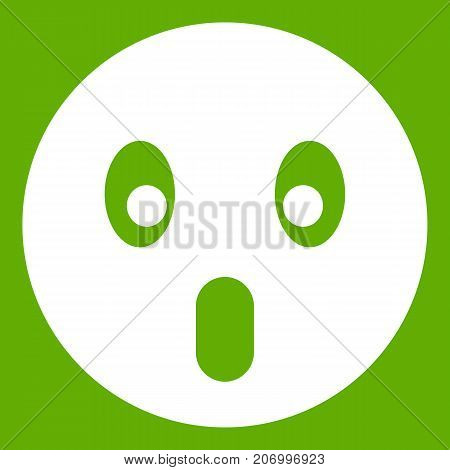 Frightened emoticon white isolated on green background. Vector illustration