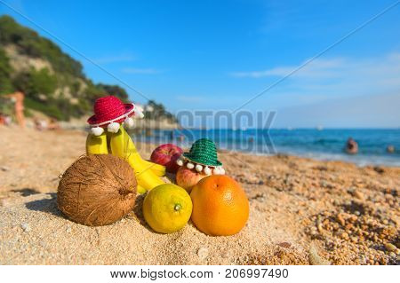 Assortment Fresh Spanish fruit with Sombrero at the beach