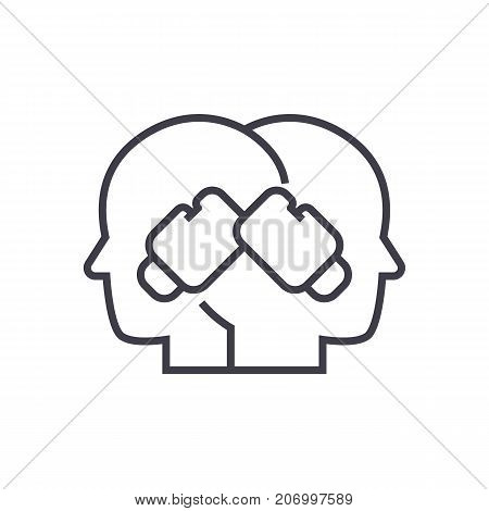 conflict illustration, boxing in heads vector line icon, sign, illustration on white background, editable strokes