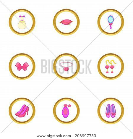 Doll princess icons set. Cartoon style set of 9 doll princess vector icons for web design