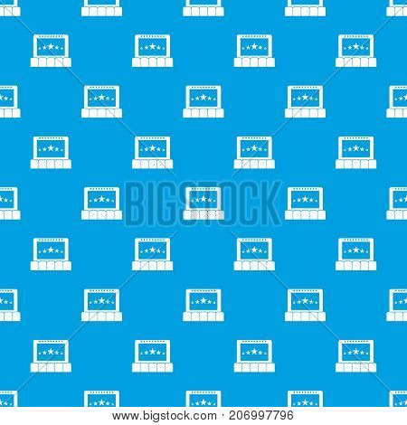 Cinema pattern repeat seamless in blue color for any design. Vector geometric illustration