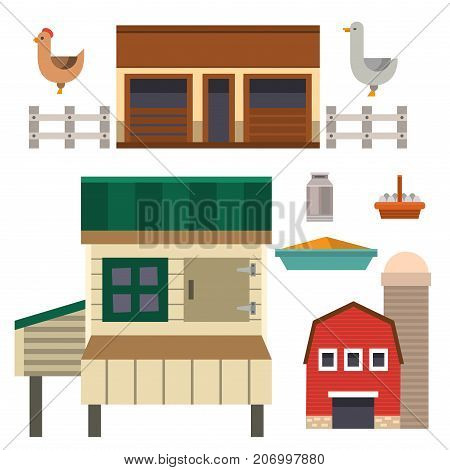 Farm house food outdoor barn building clean meadow natural agriculture animals vector illustration. Country factory home industry nature organic food production.