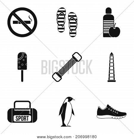 Thing for training icons set. Simple set of 9 thing for training vector icons for web isolated on white background