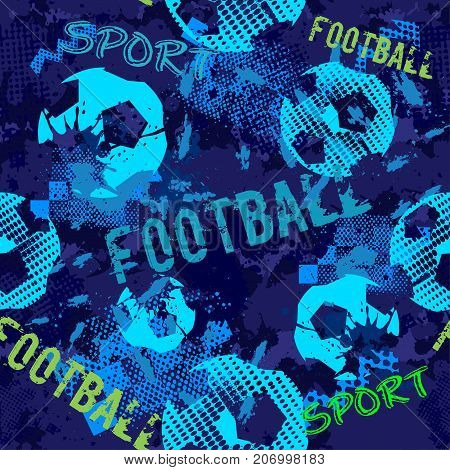 Abstract football seamless pattern for boys. Football pattern. Grunge football urban pattern with football ball. Sport wallpaper on black background with multicolor spots. Repeated football sport pattern.