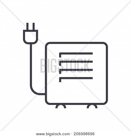 convector, heater vector line icon, sign, illustration on white background, editable strokes