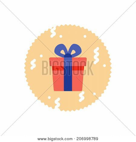 Special prize, reward gift, surprising present red box with blue ribbon, bonus concept, loyalty program, vector flat icon