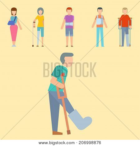 Trauma accident fracture human body safety vector people silhouette cartoon flat style illustration isolated. Bandage healthcare diagnosis emergency human patient character.