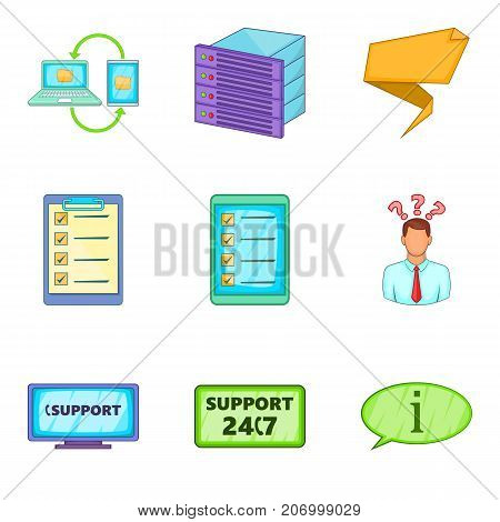 Support line icons set. Cartoon set of 9 support line vector icons for web isolated on white background