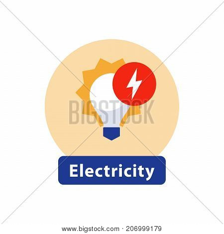 Electricity services, installation and maintenance, outage and blackout, energy efficient light bulb, high voltage sign, vector icon, flat illustration