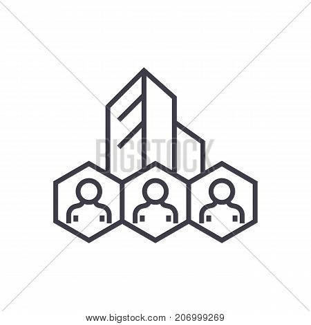 corporate policies, business system vector line icon, sign, illustration on white background, editable strokes