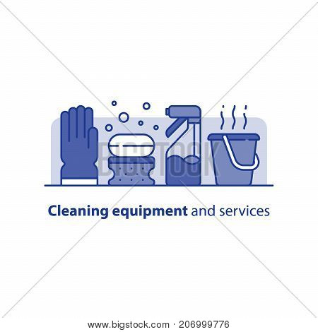 Cleaning services set, rubber glove, soap bubbles and sponge, spray bottle and hot water bucket, household and housekeeping hygiene items, equipment and supplies, vector icons