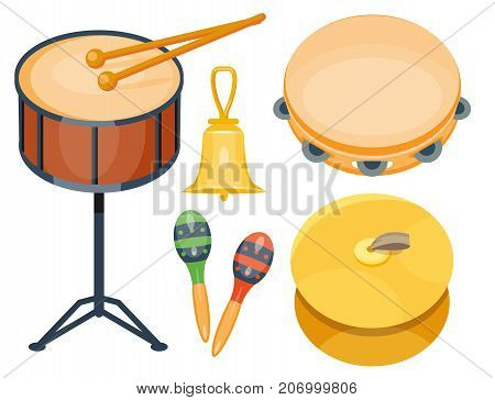 Musical drum wood rhythm music instrument series set of percussion vector illustration. Drummer musician cultural handmade orchestra art performance indigenous tribal sign.