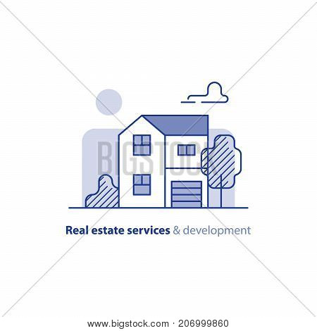 Detached house with garage and tree, two floor, suburb house icon, real estate, realty vector illustration
