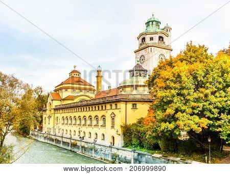 View on autumn landscape arround Muellersches Volksbad in Munich