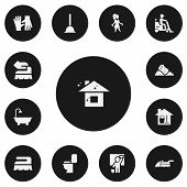Set Of 13 Editable Cleanup Icons. Includes Symbols Such As Rubber Drain, Bucket With Mop, Restroom And More poster