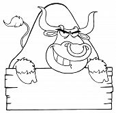 Outlined Angry Bull Looking Over A Blank Wood Sign poster