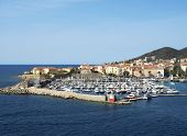 Ajaccio harbor with moored yachts and pleasure boats Corsica island France poster