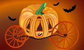 Golden pumpkin carriage for Cinderella surrounded bats poster