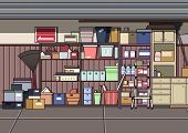 Clutter Garage. Video Game's Digital CG Artwork, Colorful Concept Illustration, Realistic Cartoon Style Background poster