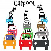 green carpool vehicle in commuter traffic  illustration poster