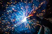 welder craftsman erecting technical steel Industrial steel welder in factory technical poster