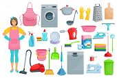 Homework flat icons for house washing, cleaning and needlework. Vector set of woman with vacuum cleaner, dishwasher machine, kitchenware grater, saucepan or sponge, mopping brush and soap detergent poster