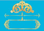 Vector panels-golden designed frame variations with scrolls poster