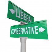 A green two-way street sign pointing to Liberal and Conservative, representing the two dominant political parties and ideologies in national and global politics poster