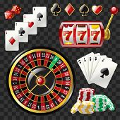 Set of casino objects - modern vector realistic isolated clip art on transparent background. Game cards, 777 slot, roulette, suits, dices, poker chips, black royal straight flush. Gambling concept poster
