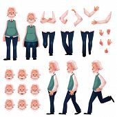Old, senior man character creation set with different poses, gestures, emotions, cartoon vector illustration on white background. Animation ready old man creation set, constructor, changeable parts poster