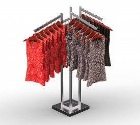 Woman Clothes Hanging On A Rack, Isolated On Withe