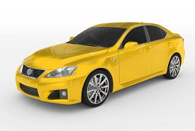 Car Isolated On White - Yellow Paint, Tinted Glass - Front-left Side View