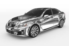 Car Isolated On White - Chrome, Tinted Glass - Front-left Side View