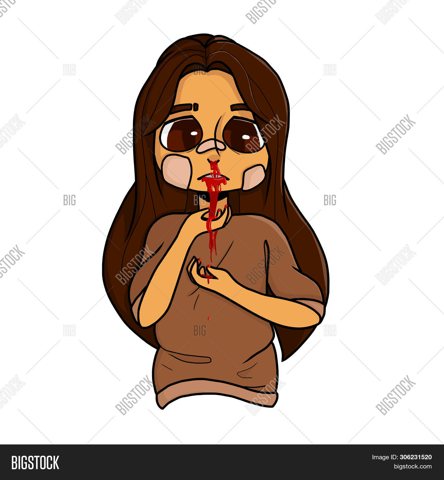 Girl Blood On Her Face Image Photo Free Trial Bigstock