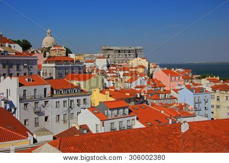 Beautiful View Over The Old Town Of Lisbon (bairro Alto) And The River Tejo, Seen From The São Pedro